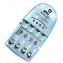 Cargador de 4 Baterías / Pilas recargables R3/AAA, R6/AA y 9V