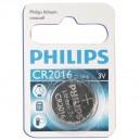 Caja 10 blisters de 1 ud. Pila botón Litio CR2016 3V Philips
