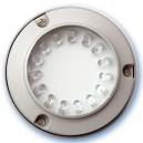 Baliza de superficie redonda para pared o suelo de 15 leds blancas 1,5W. 12V. IP54. 100x32mm. Uso externo, Niquel Satin.