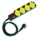 Base múltiple de 4 tomas (4T) con cable eléctrico. 3x1,5mm, 1,5m.