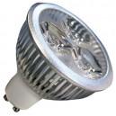 Caja 10 bombillas 3 LEDs GU10 3x2W (6W) 30/45º 2700K cálida