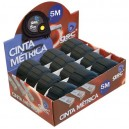 Caja expositora de 12 unidades de cinta metrica recubierta de goma, botón de parada de 5 metros. 19mm.