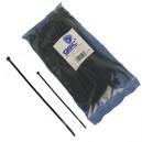 Bolsa de 25 unidades de bridas color negro, 100% nylon. 140x3,5mm.