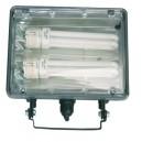 Foco halogeno con sujección giratoria variable, para bombillas de bajo consumo, PL2x26W, 230V.-IP44, Color negro.