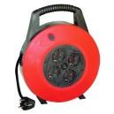 Extensible de cable electrico con 4 tomas, para enchufe 2P+TT lateral, 20 metros.(3x1,0mm)