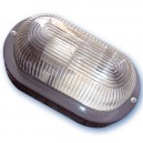 Aplique  ovalado de plástico con mateial aislante y difusor de vidrio,E27.Máx.60W.230V. IP44, Blanco.